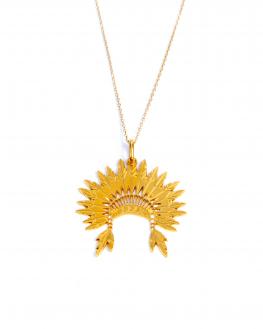 Collier chaîne plaqué or pour femme pendentif coiffe indien et plumes - Madame Vedette