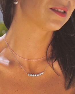 Collier chaîne argent 925 pendentif style boules - Bijoux créateur idée cadeau femme - Madame Vedette