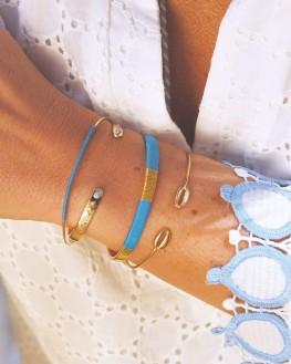 Composition bracelets joncs ouverts dorés or fin - Bijoux créateur idée cadeau - Madame Vedette