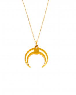 Collier chaîne plaqué or pour femme pendentif corne intérieur blanc - Madame Vedette