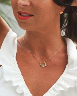 Collier chaîne pendentif solaire plaqué or et aventurine - Bijoux créateur idée cadeau tendance - Madame Vedette