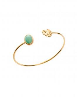 Nouveauté bracelet femme jonc ouvert plaqué or jungle et aventurine - Bijoux de créateur - Madame Vedette