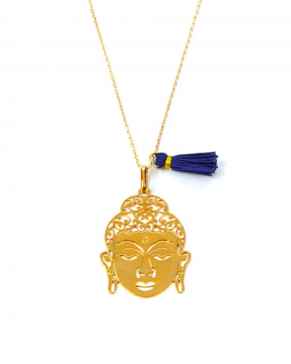 Collier chaîne plaqué or pour femme pendentif tête bouddha et pompon - Madame Vedette