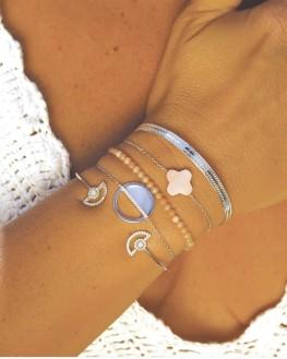 Idée cadeau femme bracelet chaîne argent 925 et nacre - Bijoux de créateur par Madame Vedette