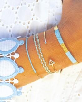 Composition bracelets joncs argent 925 et fils couleurs - Bijoux de créateur par Madame Vedette