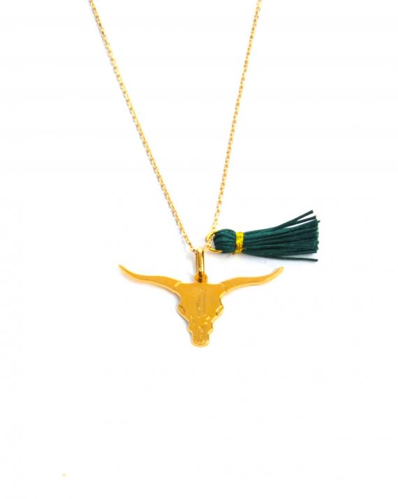 Collier chaîne plaqué or pour femme pendentif buffle et pompon - Madame Vedette