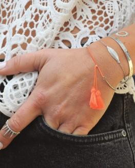 Bracelet jonc ruban cadenas martelé en argent 925 - Bijouterie fantaisie Madame Vedette