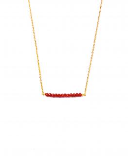 Collier chaîne plaqué or barrette perles couleur - Création femme tendance Madame Vedette