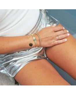 Nouveauté bracelet femme jonc ouvert plaqué or succession boules - Bijoux de créateur - Madame Vedette