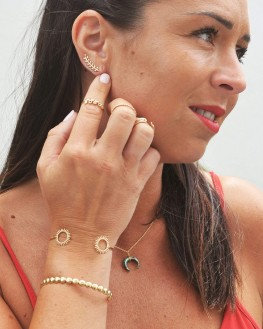 Boucles d'oreilles plaqué or pour femme motif lauriers - Bijoux tendances de créateur par Madame Vedette