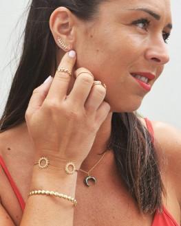 Création bracelet jonc ouvert plaqué or motifs solaire - Bijoux tendances de créateur par Madame Vedette