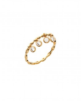 Bague femme plaqué or et pampilles brillants - Offrez un bijou de créateur - Madame Vedette