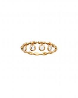 Bague fine dorée à l'or fin et brillants zircon - Bijoux de créateur tendance - Madame Vedette