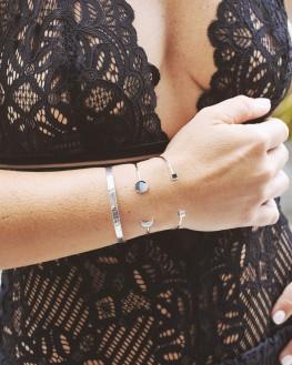 Composition bracelets jonc argent massif pour femme - Bijoux créateur - Madame Vedette