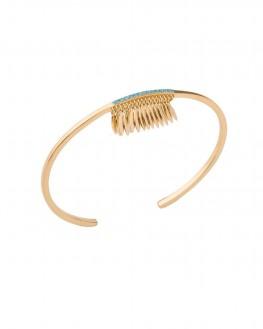 Tendance bracelet femme jonc ouvert plaqué or et turquoises - Bijoux de créateurs x Madame Vedette