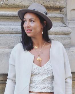 Boucles d'oreilles pendantes plaqué or et pierre de couleur - Bijoux fantaisie pour femme - Madame Vedette