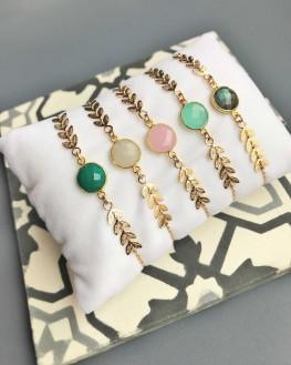 Collection bracelets femme chaîne plaqué or épis pierre couleur - Bijoux de créateur - Madame Vedette