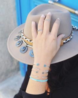 Composition inspiration bracelets femme jonc ouvert en argent 925 et turquoises - Création de bijoux - Madame Vedette
