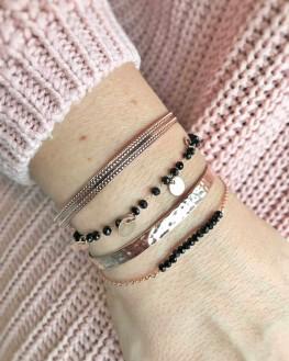 Composition bracelet femme jonc cadenas ruban plaqué or rose - Bijoux créateur mode - Madame Vedette