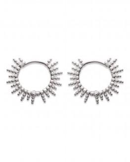 Boucles d'oreilles créoles motif solaire argent 925 - Bijoux fantaisie tendances Madame Vedette