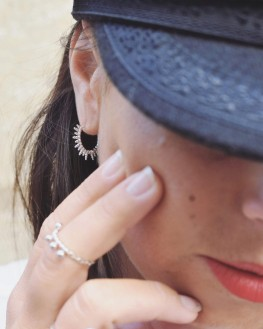 Boucles d'oreilles créoles femme en argent 925 motif solaire - Bijoux créatrice - Madame Vedette