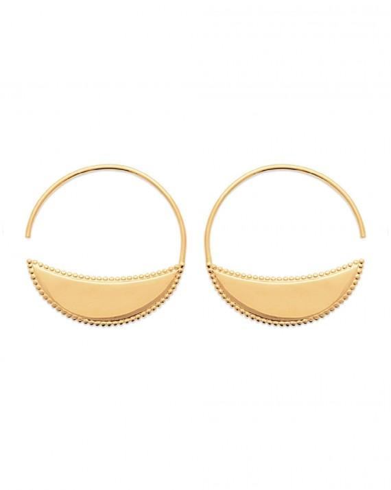Petites boucles d'oreilles créoles pour femme en or fin - Bijoux de créateurs plaqué or - Madame Vedette