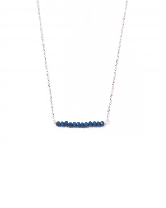 Acheter collier femme chaîne argent 925 barrette perles couleur - Bijoux fantaisie créateur x Madame Vedette