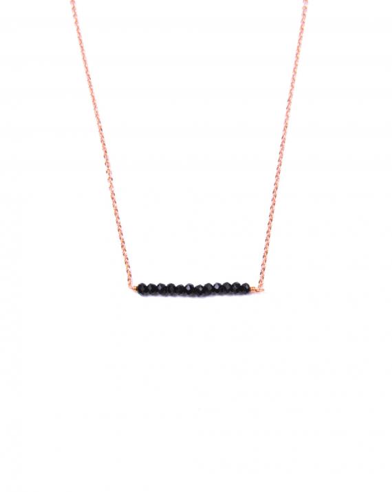 Collier chaîne plaqué or rose barrette perles pour femme - Madame Vedette