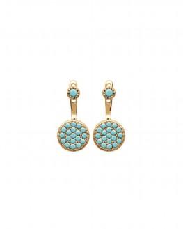Boucles d'oreilles plaqué or pour femme avec pierres turquoises - Création de bijoux - Madame Vedette