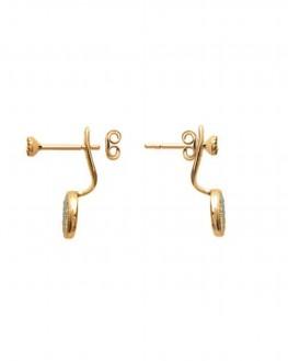 Lobes d'oreilles femme plaqué or et pierres turquoises - Bijoux de créateur - Madame Vedette
