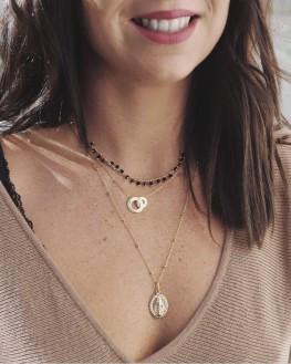 Collier fantaisie pour femme plaqué or et pierres noires - Bijoux de créateurs tendances - Madame Vedette