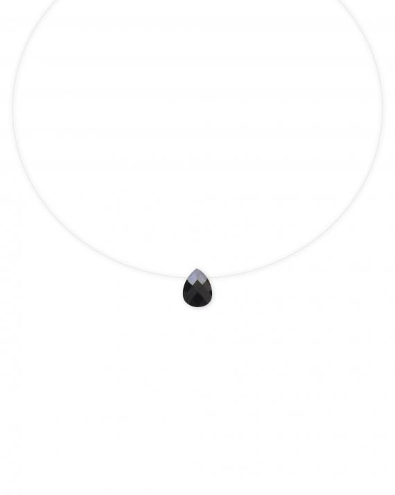 Collier fil nylon goutte pierre noire - Bijoux fantaisie créateurs x Madame Vedette