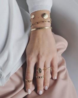 Bracelet jonc ouvert tendance doré à l'or fin pour femme - Bijoux de créateurs - Madame Vedette