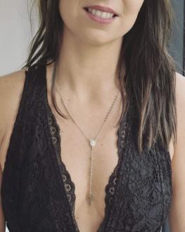 Collier Y chaîne boules pour femme en argent 925 pendentifs madone et croix - Bijoux fantaisies de créateur