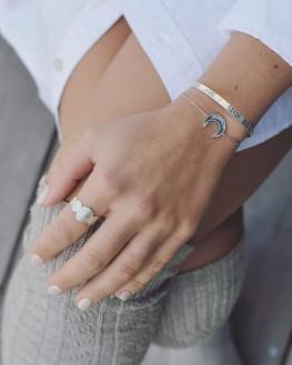 Bracelet chaîne pour femme en argent 925 motif demi-lune - Création bijoux fantaisies - Madame Vedette