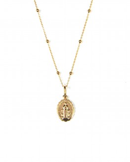 Collier femme tendance pendentif madone plaqué or - Création de bijoux - Madame Vedette