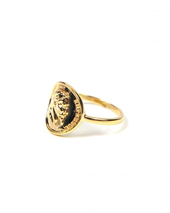 Bague plaqué or pour femme médaillon napoléon - Création bijoux fantaisies - Madame Vedette