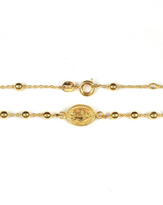 Bracelet chaîne médaille madone plaqué or - Bijoux fantaisie créateurs - Madame Vedette