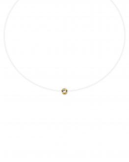Collier fil nylon pendentif plaqué or brillant oxyde zirconium pour femme - Madame Vedette