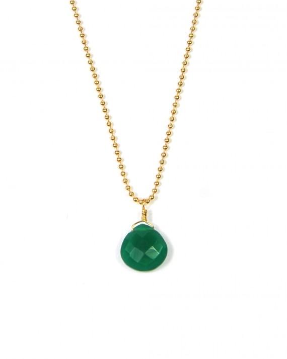 Création collier femme plaqué or pendentif pierre verte - Bijoux fantaisies créateur - Madame Vedette