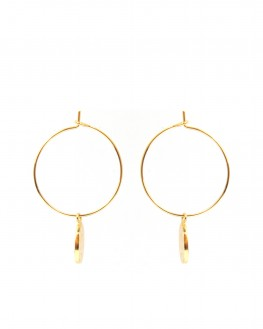 Boucles d'oreilles créoles plaqué or pendentif madone - Bijoux fantaisie créateurs - Madame Vedette