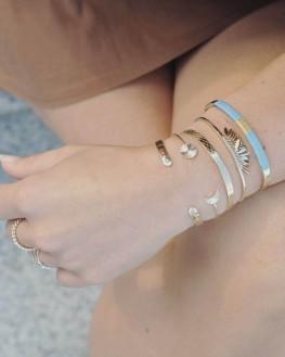 Bracelet jonc ouvert pour femme en plaqué or et turquoises - Bijoux fantaisie créateurs - Madame Vedette