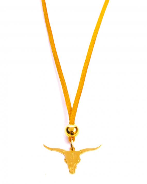 Collier sautoir suédine pendentif buffle plaqué or pour femme - Madame Vedette