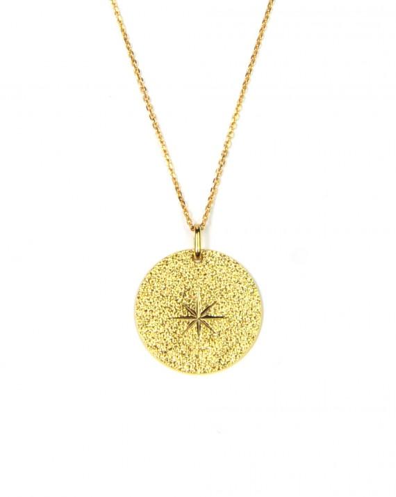 Collier sautoir chaîne plaqué or et médaille étoile texturée - Bijoux or fin - Madame Vedette