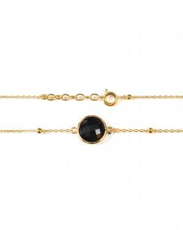 Bracelet chaîne fine plaqué or et pierre couleur - Bijoux fantaisie créateurs - Madame Vedette