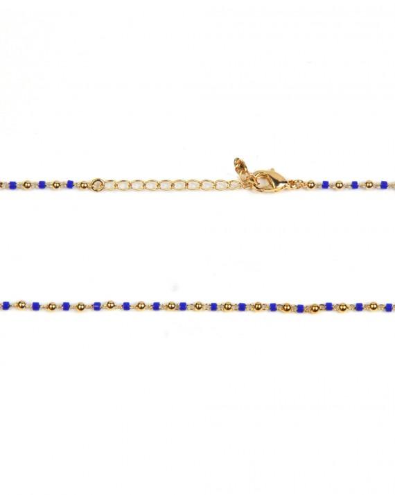 Collier chaîne boules perles cylindre de couleur - Bijoux fantaisie créateurs - Madame Vedette