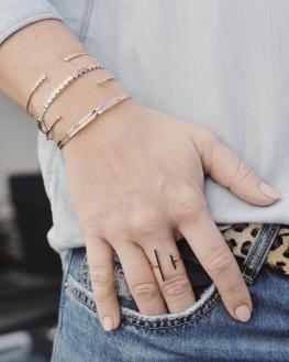 Création bracelet jonc ouvert plaqué or rose brillants zircon - Bijoux fantaisie femme - Madame Vedette