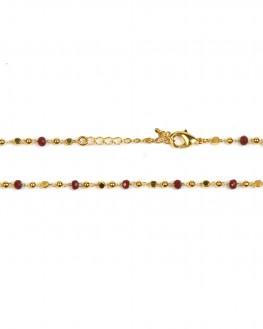 Collier chaîne boules perles plaqué or et couleur - Création bijoux fantaisie x Madame Vedette