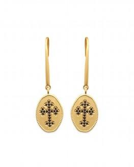 Boucles d'oreilles plaqué or femme onyx sertie - Création bijoux fantaisie x Madame Vedette