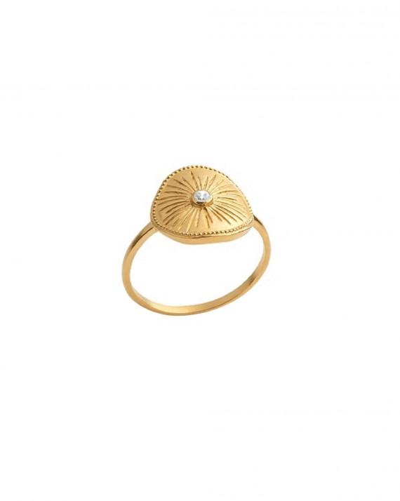 Bague ronde plaqué or et brillant zircon pour femme - Bijoux fantaisie créateurs - Madame Vedette